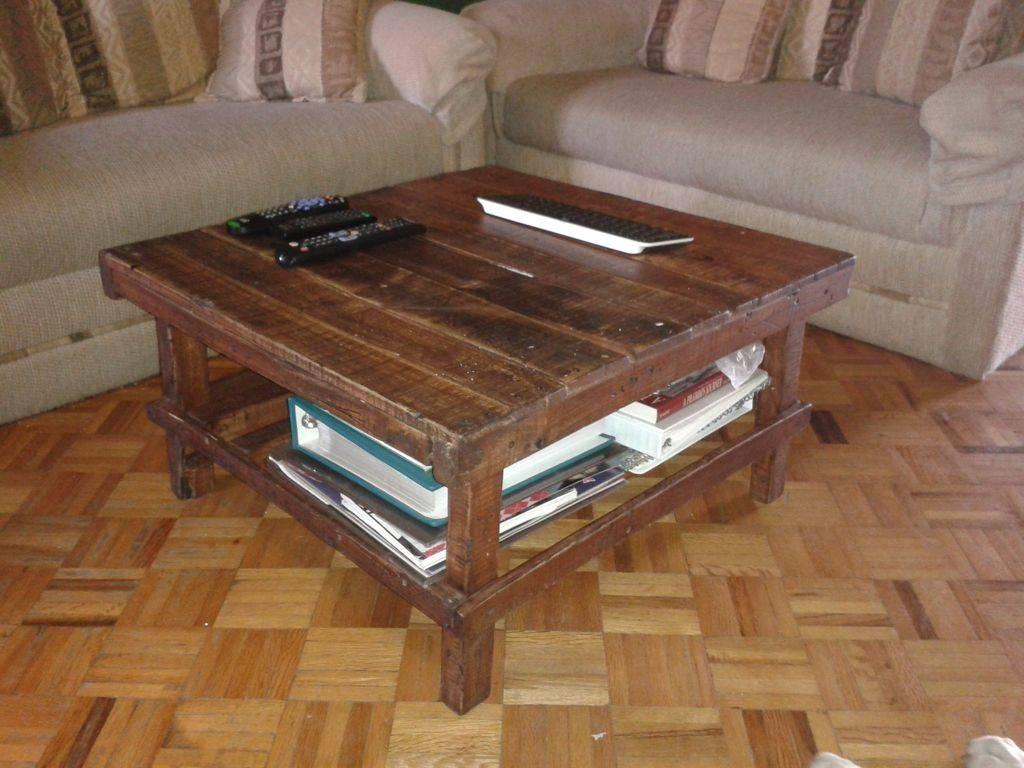 Furniture : Simple Square Brown Wooden Coffee Table With Shelves with Low Square Wooden Coffee Tables (Image 15 of 30)