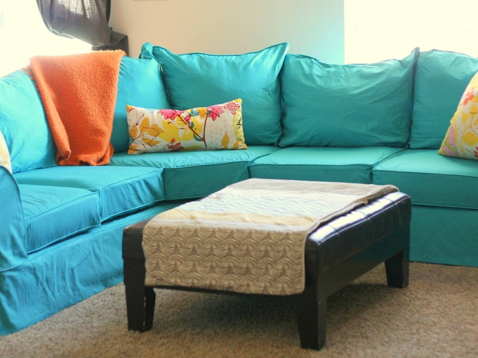 Furniture: Slipcovers For Sectional That Applicable To All Kinds intended for Teal Sofa Slipcovers (Image 2 of 30)