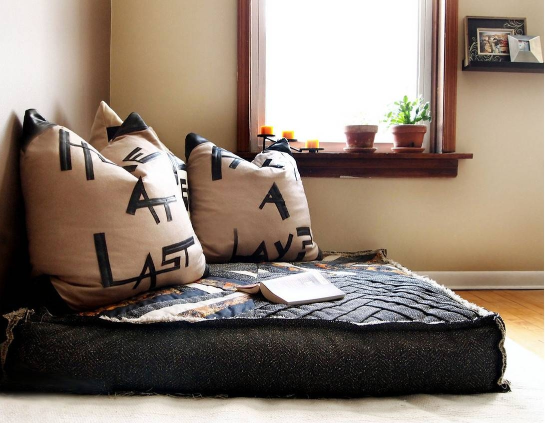 Furniture : Small Square Black Cozy Floor Couch And Square Brown with regard to Floor Couch Cushions (Image 21 of 30)