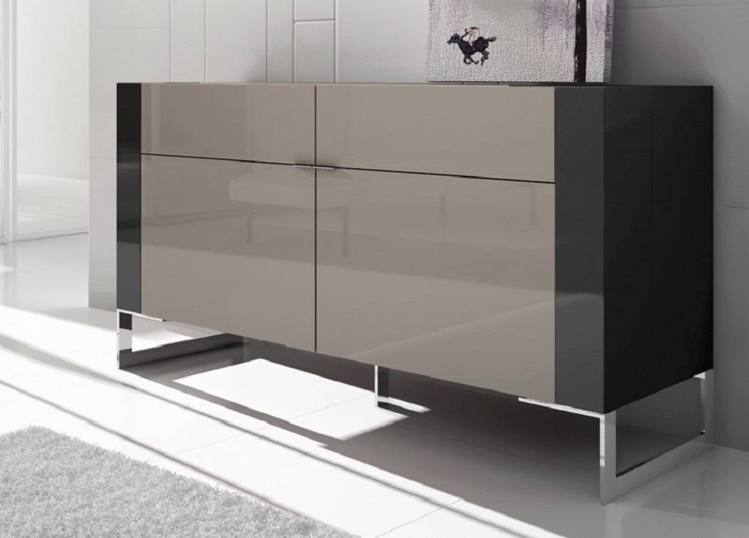 Furniture: Smooth Grey Fur Rug With Modern Glossy Brown Sideboard In Modern Sideboard Furniture (View 24 of 30)