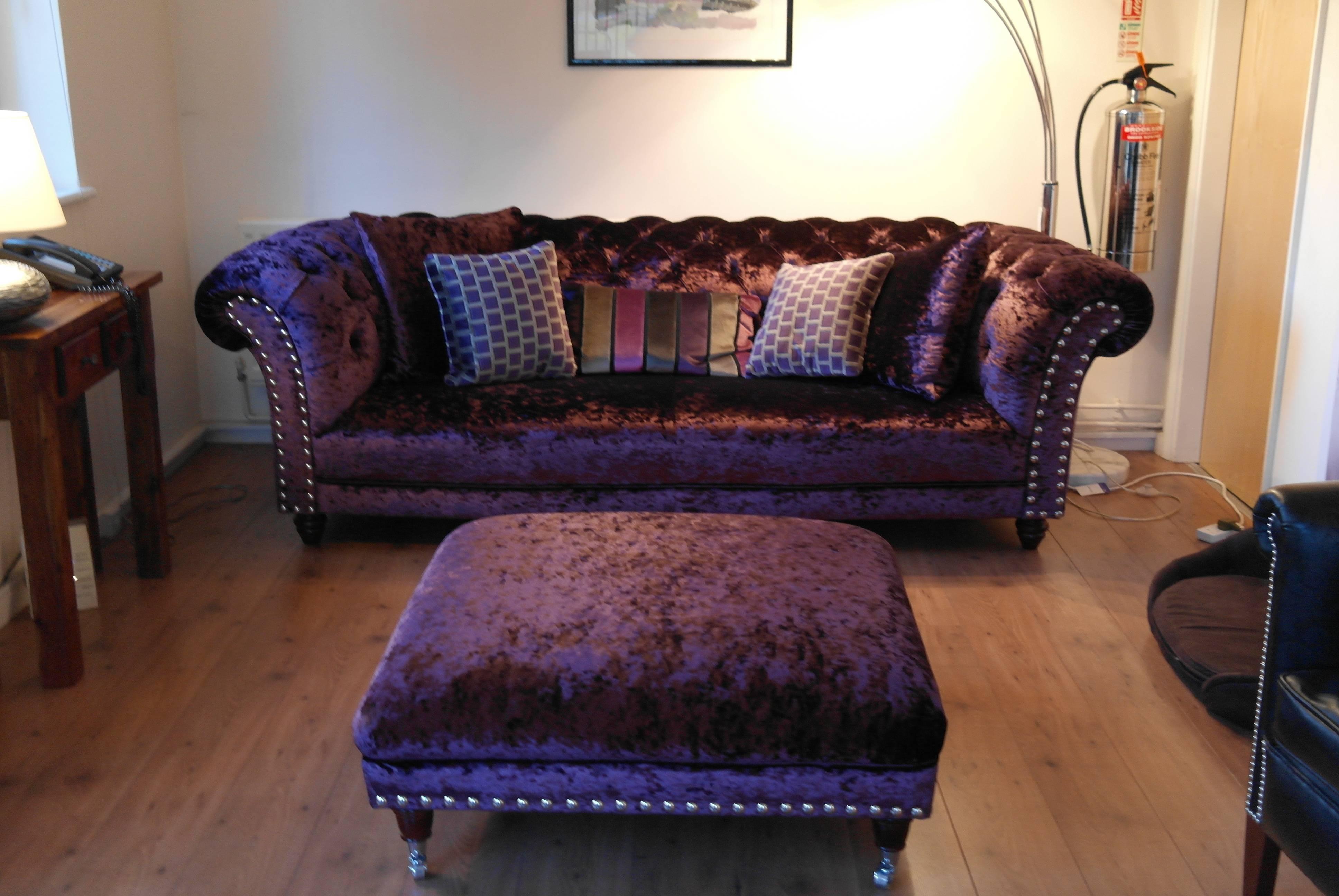 Furniture: Sophisticated Velvet Tufted Sofa For Living Room with regard to Velvet Purple Sofas (Image 12 of 30)