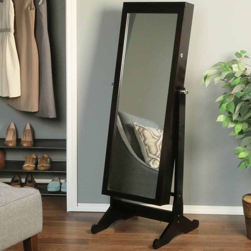 Furniture: Standing Jewelry Mirror Armoire With Cream Sofa And regarding Cream Standing Mirrors (Image 18 of 25)