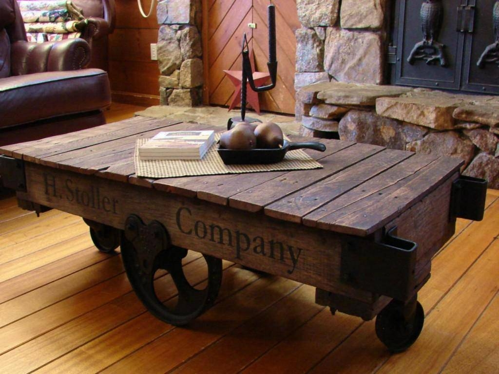 Furniture : Traditioanl Brown Wooden Coffee Table On Wheels with regard to Wheels Coffee Tables (Image 13 of 30)