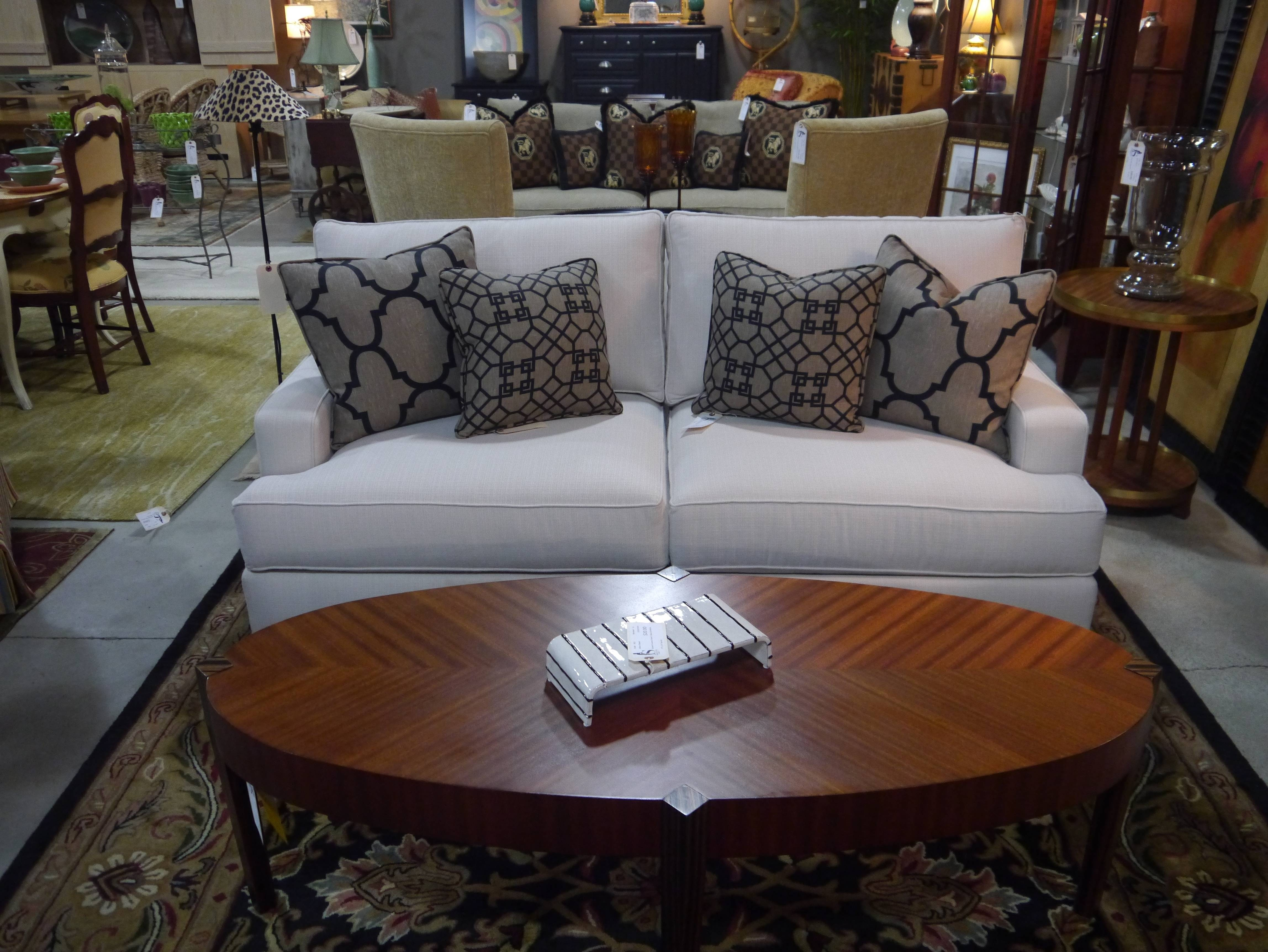 Furniture: Traditional Living Room Design With Beige Ethan Allen inside Oval Sofas (Image 11 of 30)