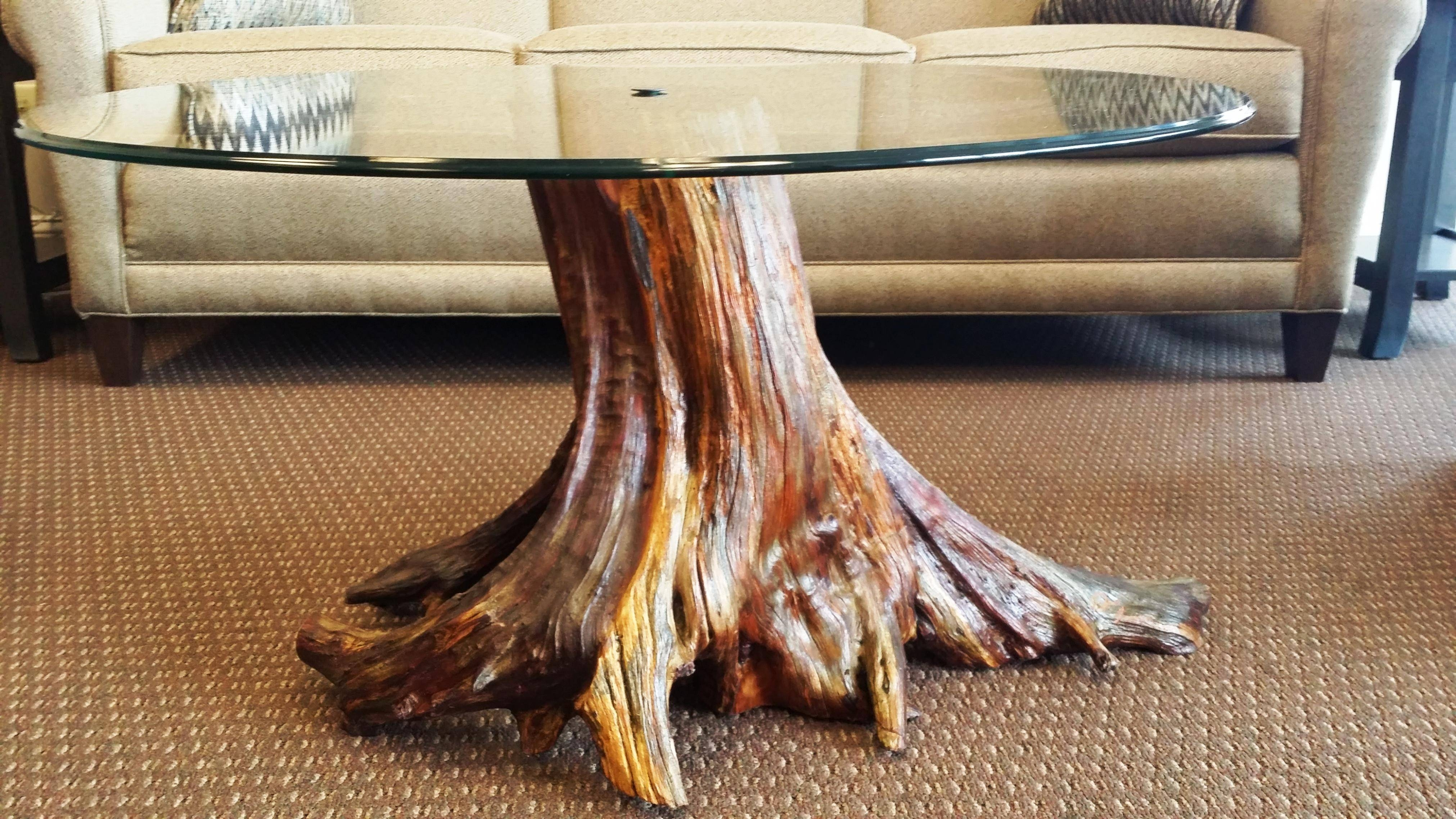 Furniture: Tree Trunk Coffee Table Wood Stump Side Table Trunk in Dark Wood Chest Coffee Tables (Image 25 of 30)