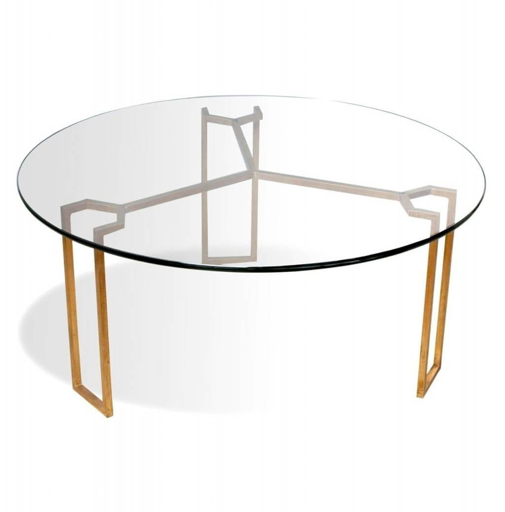 Furniture: Triangle Modern Coffee Table With Round Glass Top The for Glass Circular Coffee Tables (Image 14 of 31)