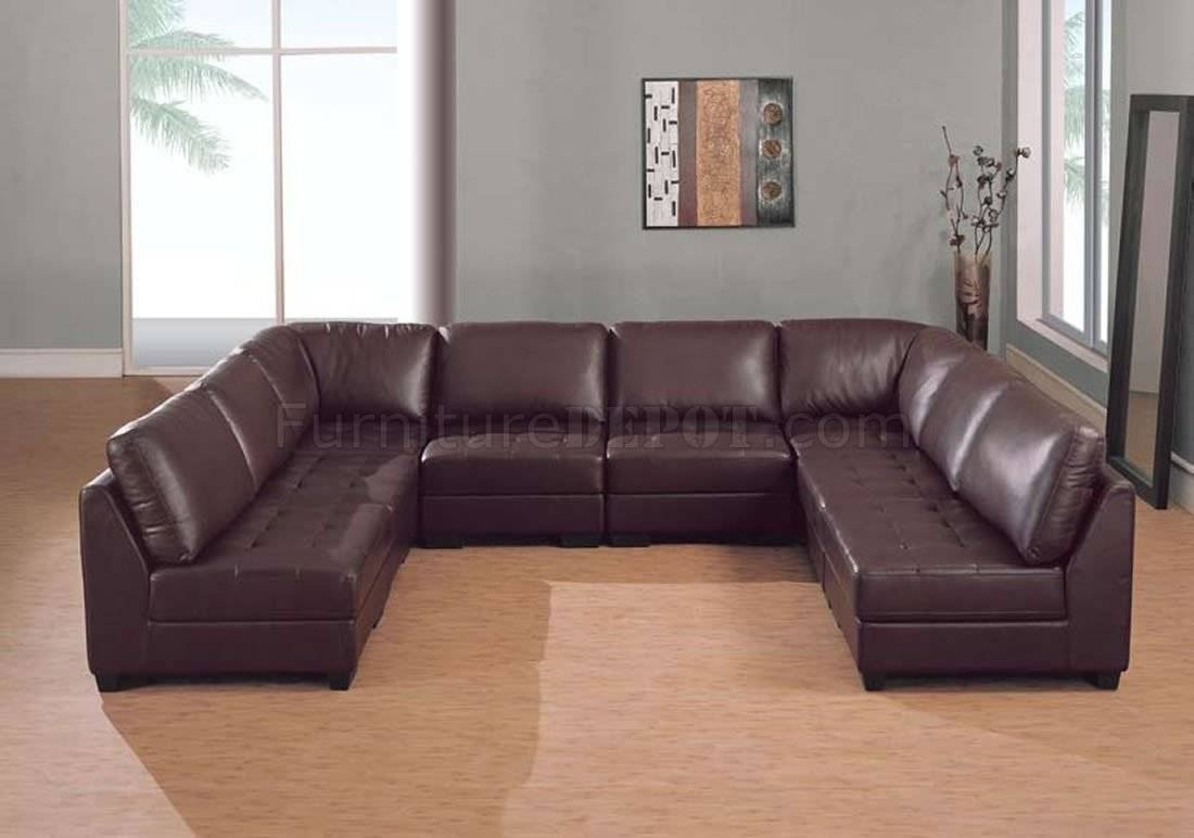 Furniture: U Shaped Leather Sectional Sofa In Dark Brown For Regarding U  Shaped Leather Sectional