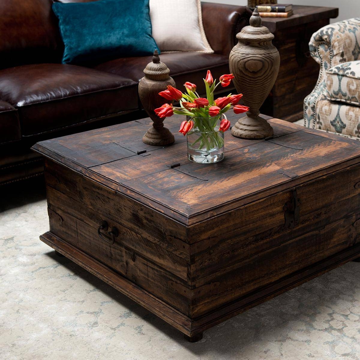 Furniture: Unique Rustic Coffee Table For Elegant Living Room for Dark Wood Square Coffee Tables (Image 20 of 30)