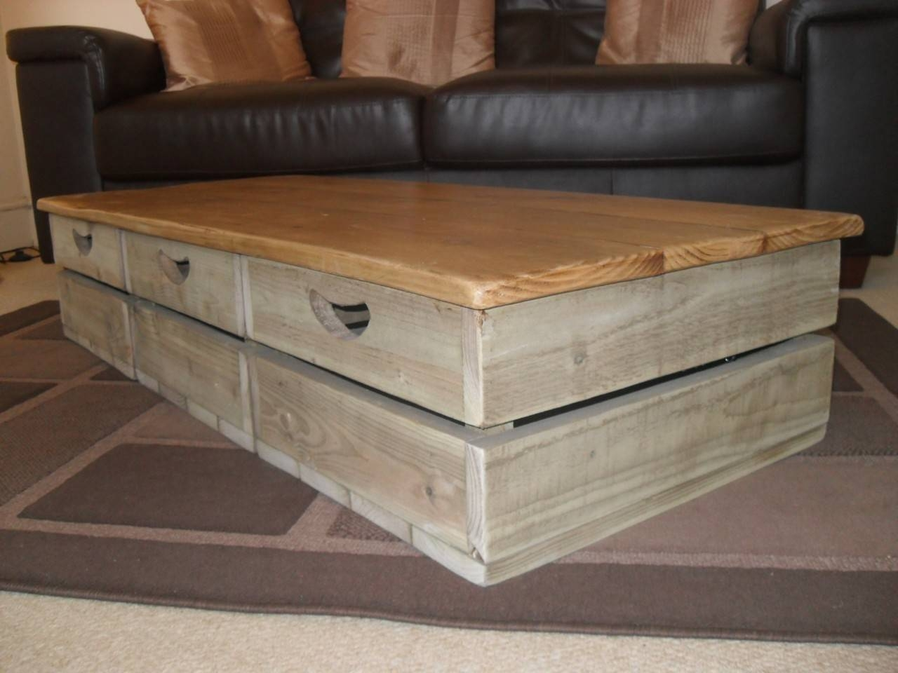 Furniture: Unique Rustic Coffee Table For Elegant Living Room Intended For Large Low Rustic Coffee Tables (View 8 of 30)