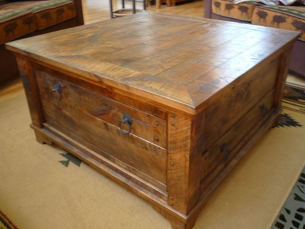 Furniture: Unique Rustic Coffee Table For Elegant Living Room regarding Rustic Coffee Table Drawers (Image 12 of 30)