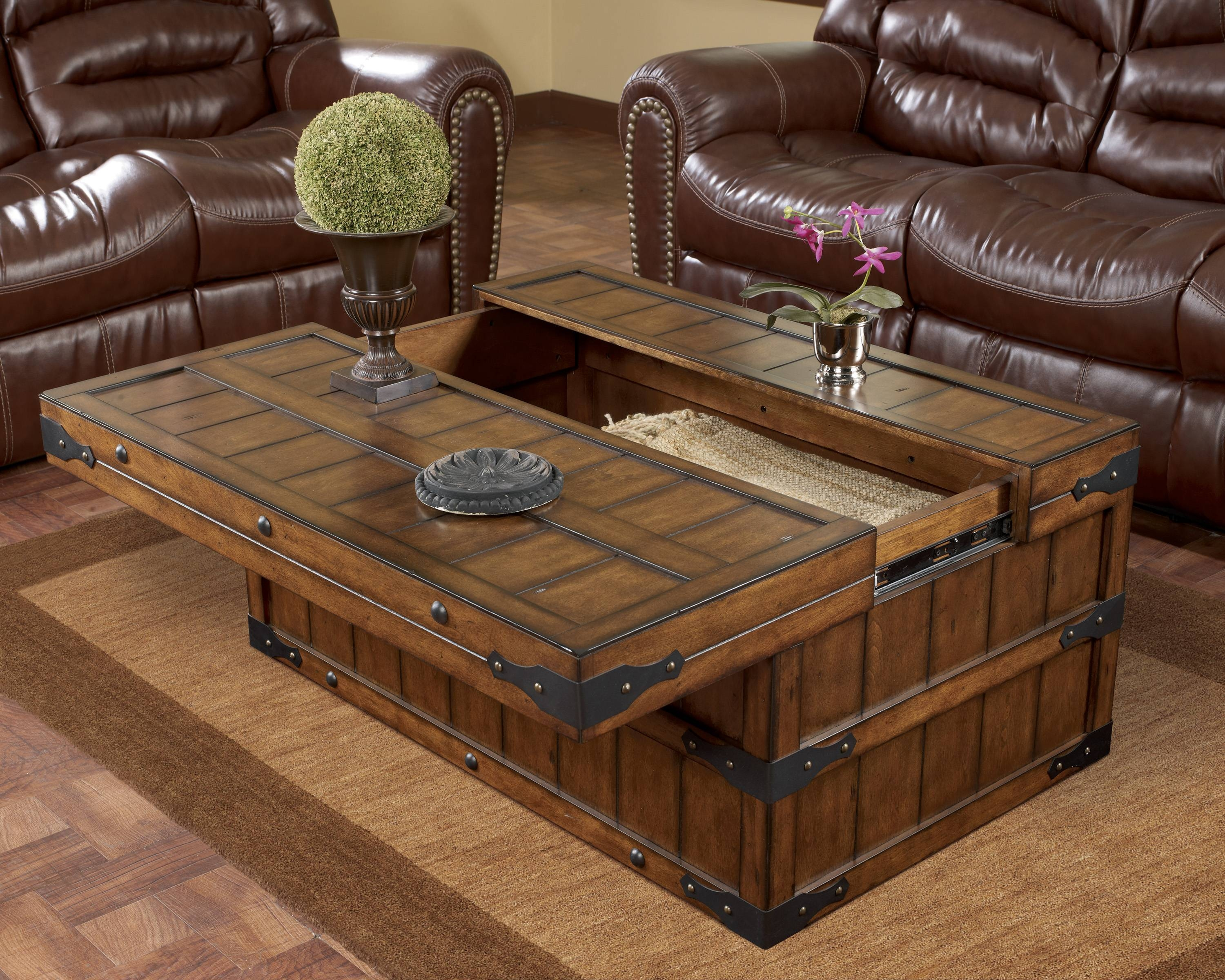 Furniture: Unique Rustic Coffee Table For Elegant Living Room with regard to Wooden Coffee Tables With Storage (Image 22 of 30)