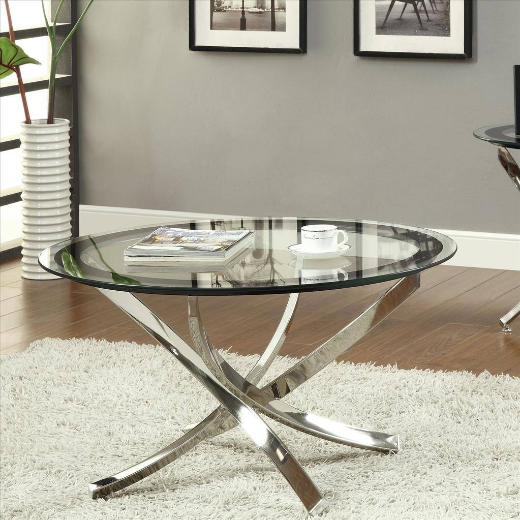 Furniture. Uniquely Round Glass Coffee Table In All Rooms with regard to All Glass Coffee Tables (Image 15 of 30)