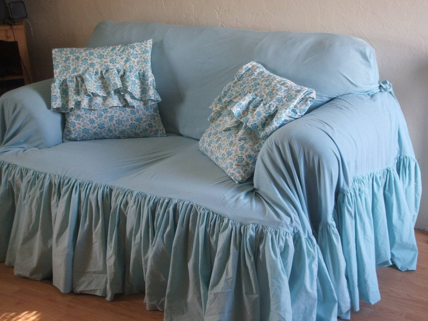 Furniture: Update Your Living Room With Best Sofa Slipcover Design throughout Teal Sofa Slipcovers (Image 8 of 30)