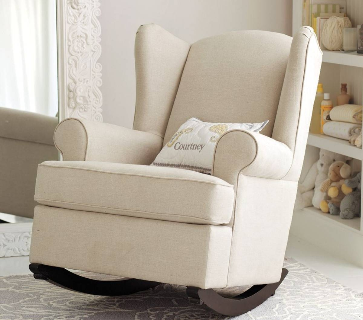 Furniture: Upholstered Rocking Chair | Double Glider Nursery regarding Sofa Rocking Chairs (Image 9 of 30)