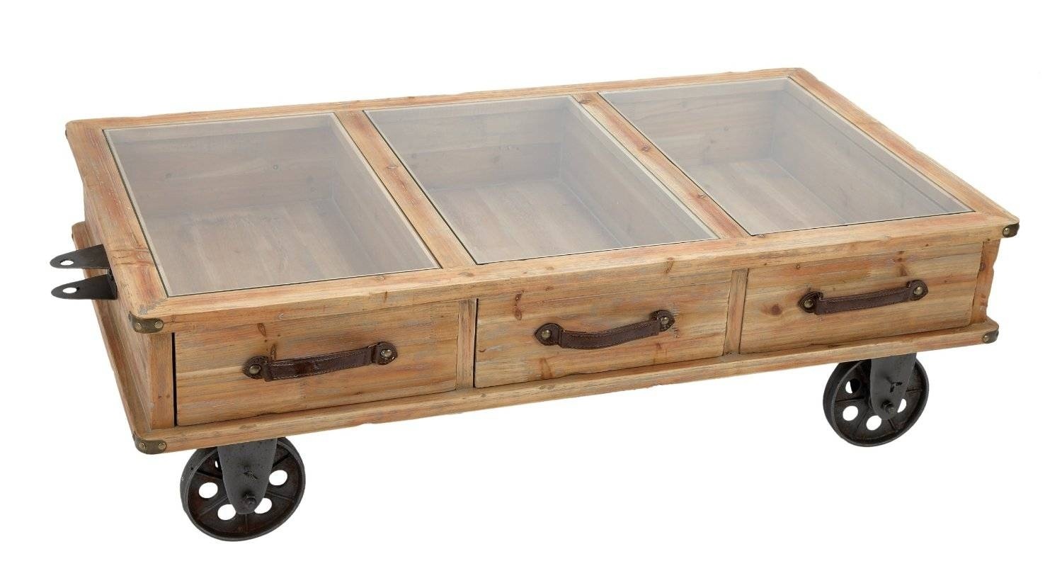 Furniture. Used Stained Wooden Chest Coffee Table With Storage And regarding Glass Coffee Tables With Casters (Image 16 of 30)