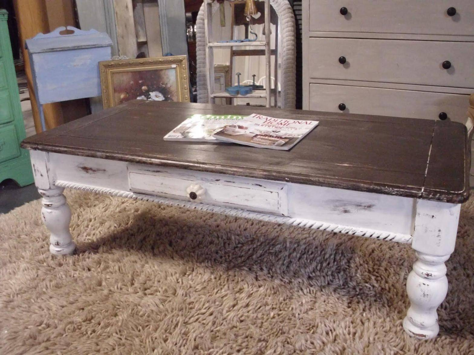 Furniture: Weathered Coffee Table | Distressed Wood Coffee Table in Rustic Coffee Table With Wheels (Image 17 of 30)