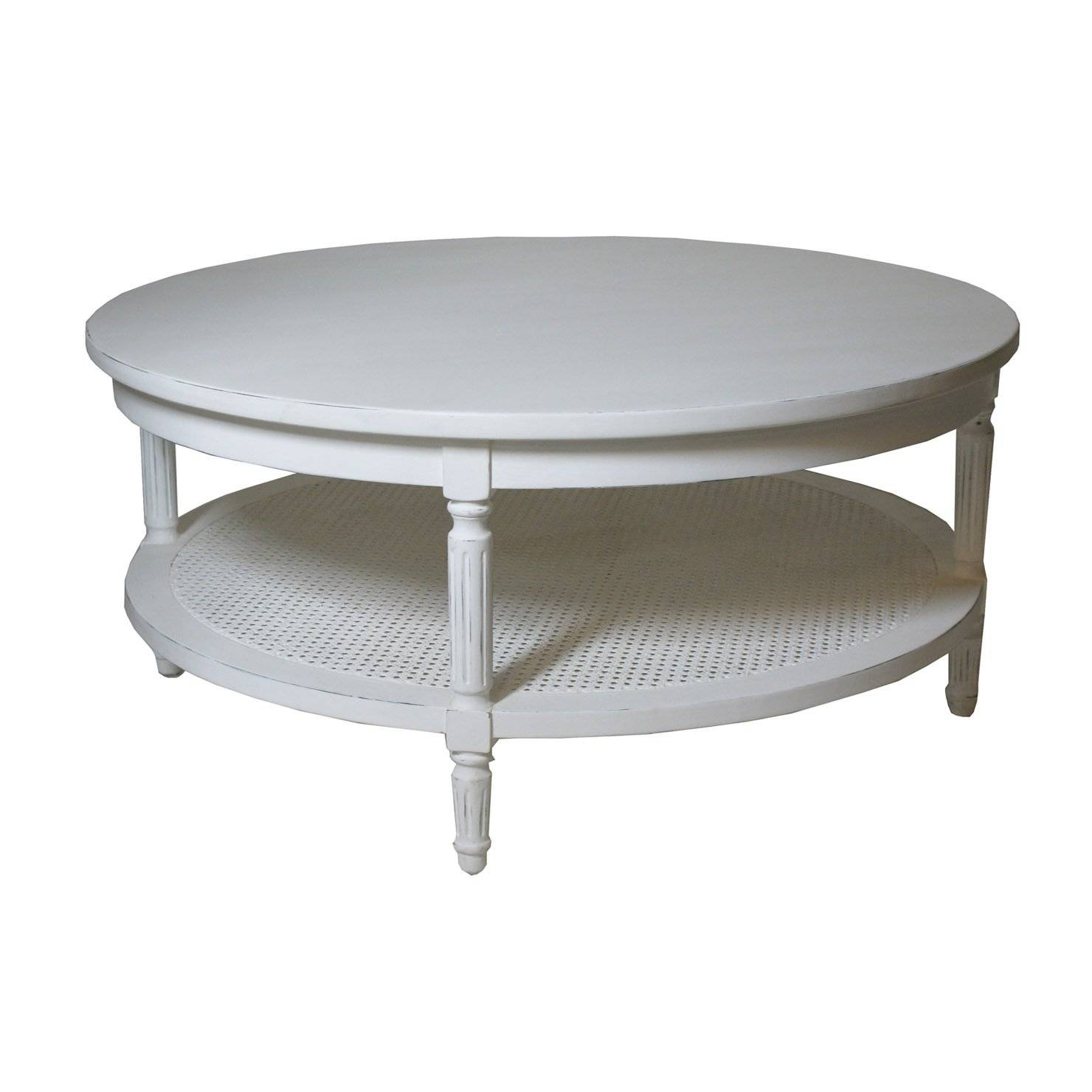 Furniture. White Wooden Round Coffee Table With Shelf With Big with Round Coffee Table Storages (Image 16 of 30)