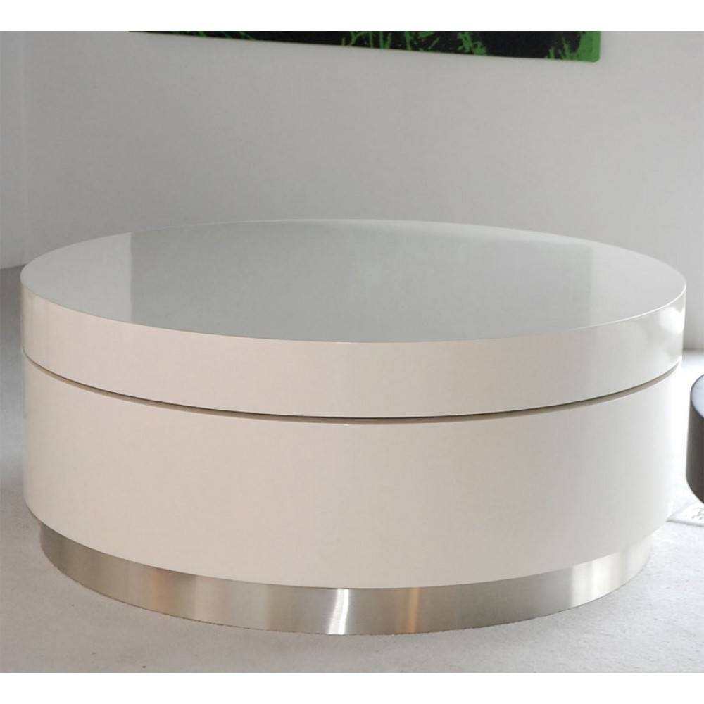 Furniture. Wonderful Swivel Coffee Table Ideas: White Round Modern pertaining to Round Swivel Coffee Tables (Image 8 of 30)