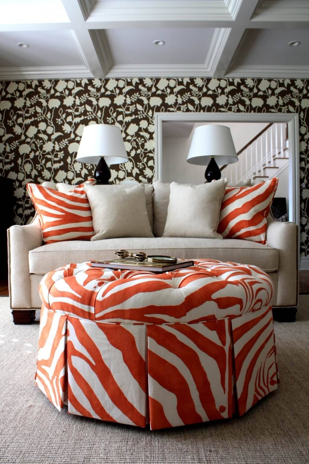 Furniture: Zebra Print Round Coffee Table And Round Zebra Ottoman In Animal Print Ottoman Coffee Tables (View 7 of 30)