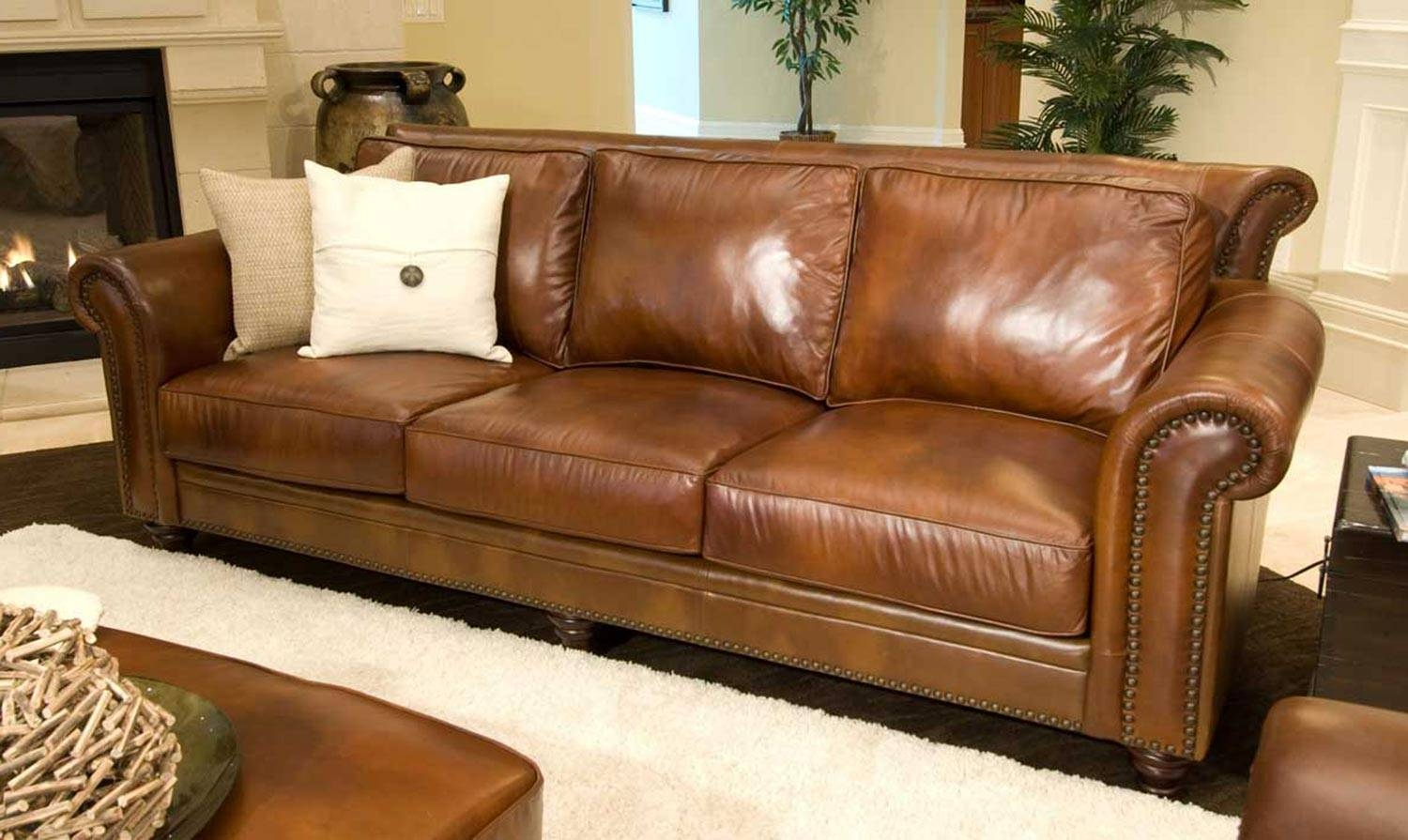 Furnitures: Classy Full Grain Leather Sofa For Luxury Living Room in Full Grain Leather Sofas (Image 24 of 30)