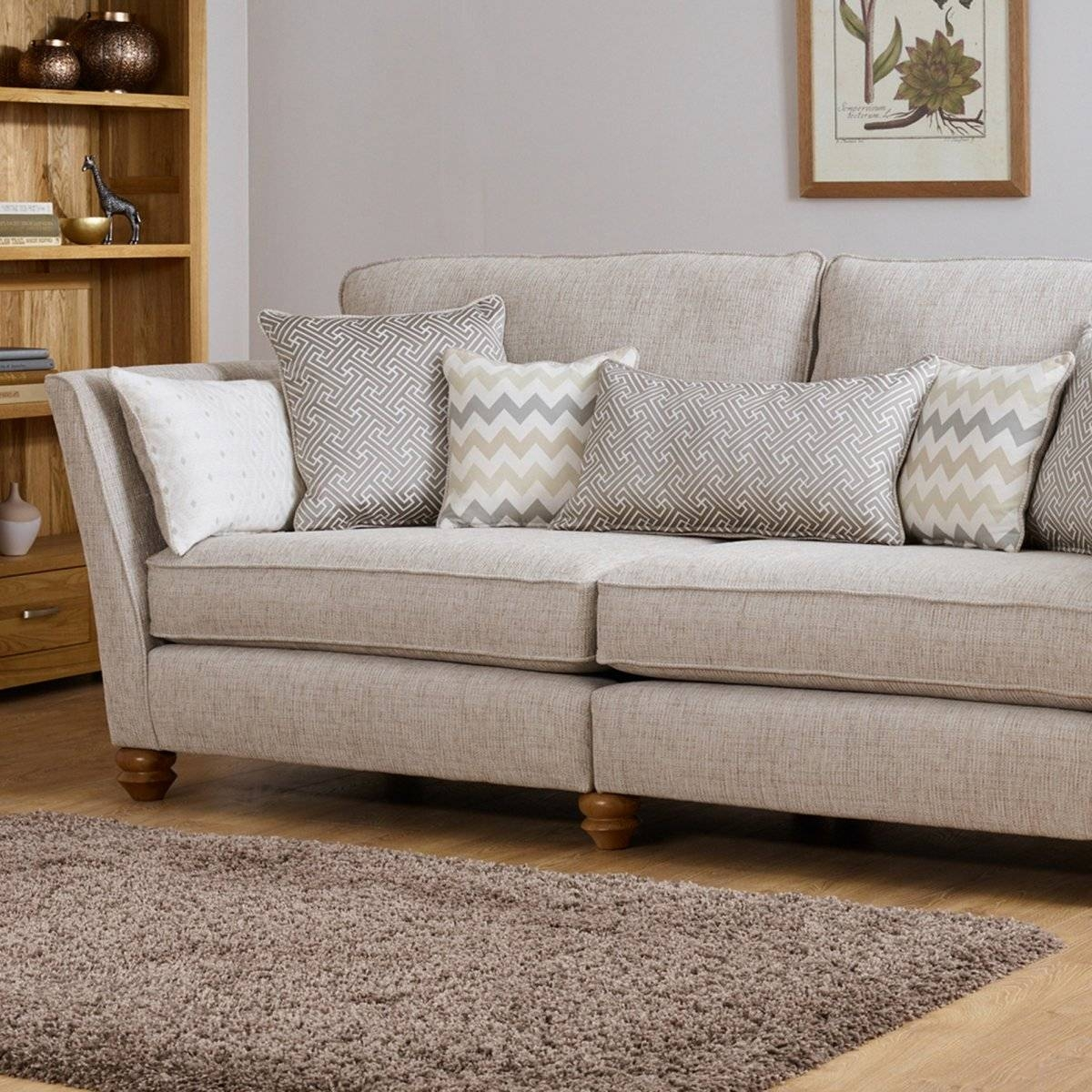 Gainsborough 3 Seater Sofa In Beige | Oak Furniture Land pertaining to Three Seater Sofas (Image 19 of 30)