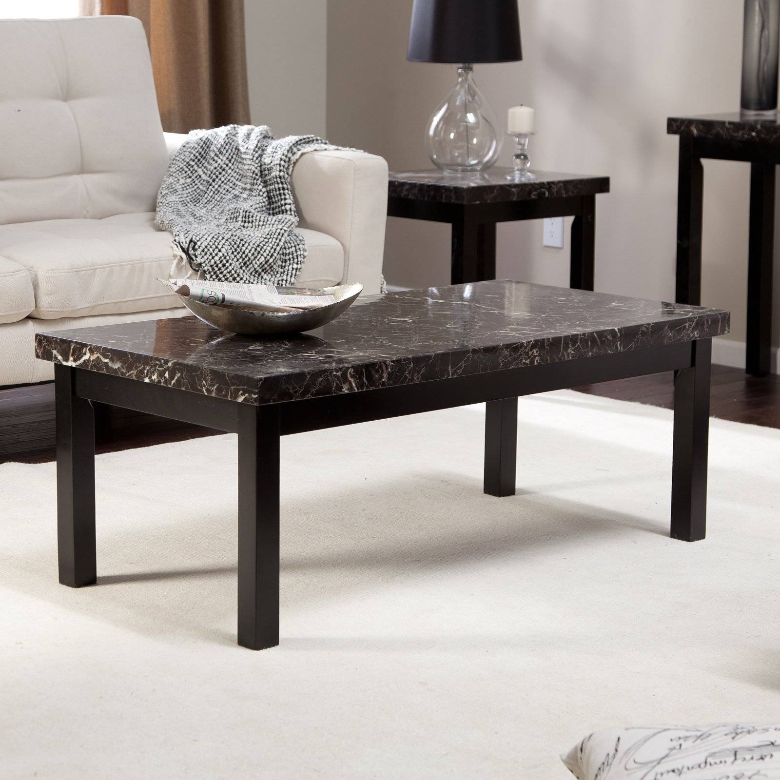 Galassia Faux Marble Coffee Table | Hayneedle for Marble Coffee Tables (Image 14 of 30)