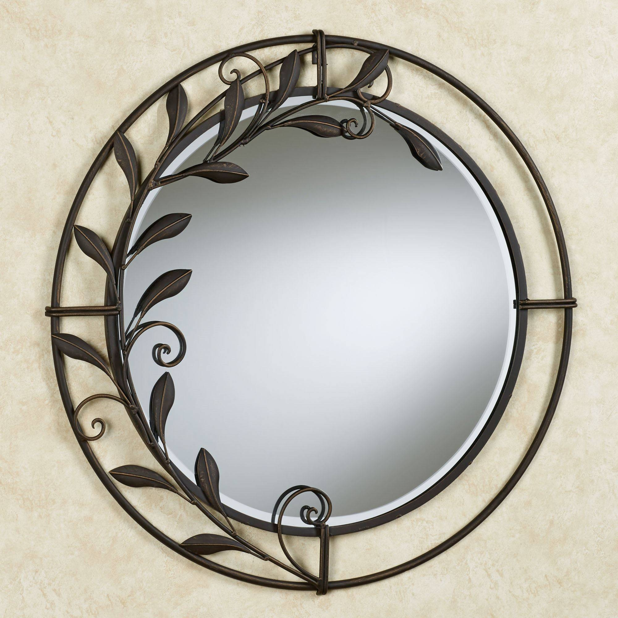 Galeazzo Antique Bronze Round Metal Wall Mirror in Antique Round Mirrors (Image 9 of 25)