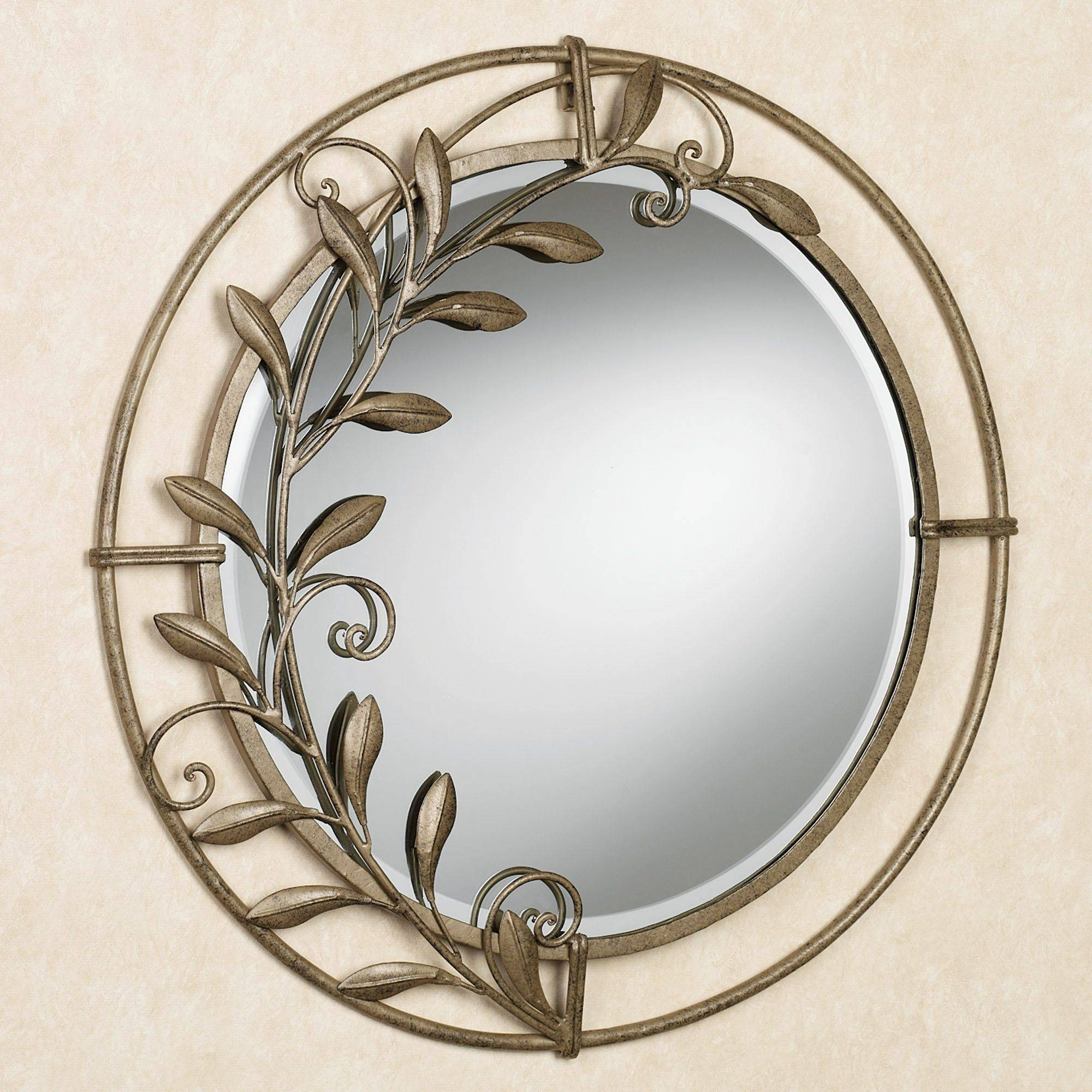 Galeazzo Antique Gold Round Metal Wall Mirror inside Gold Round Mirrors (Image 8 of 25)