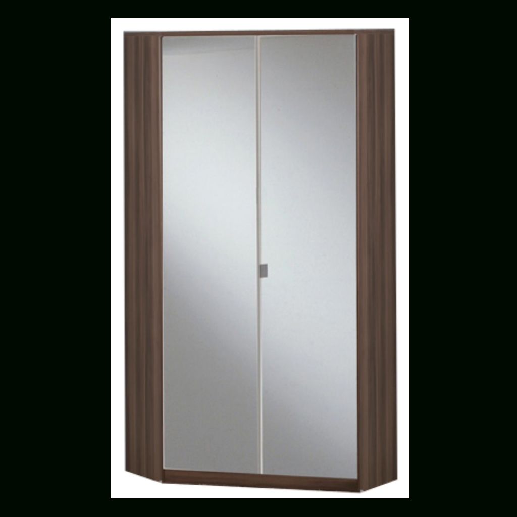 Gamma Walnut & Black Gloss 2 Door Corner Wardrobe | Sabba Furniture throughout Mirrored Corner Wardrobes (Image 9 of 15)