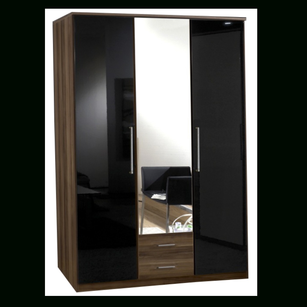 Gamma Walnut & Black Gloss 3 Door 2 Drawer Wardrobe | Sabba Furniture In Black Gloss Mirror Wardrobes (Photo 4 of 15)