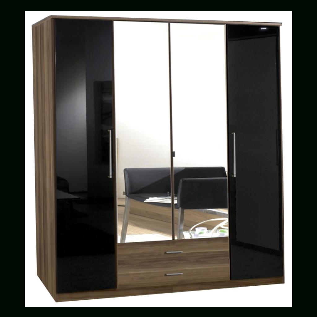 Gamma Walnut & Black Gloss 4 Door 2 Drawer Wardrobe | Sabba Furniture pertaining to 4 Door Wardrobes With Mirror and Drawers (Image 7 of 15)