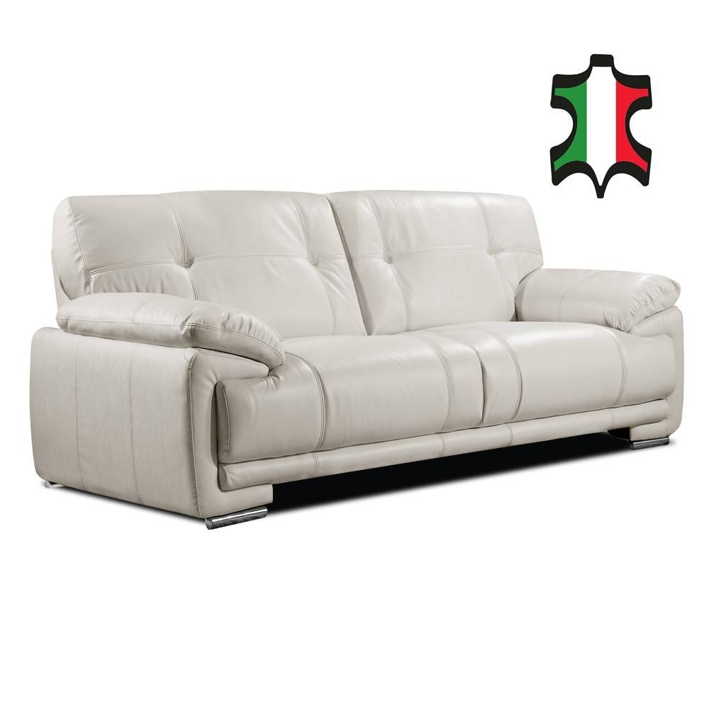 Genuine Italian Leather Sofa Collection In Pale Ivory with Ivory Leather Sofas (Image 10 of 30)