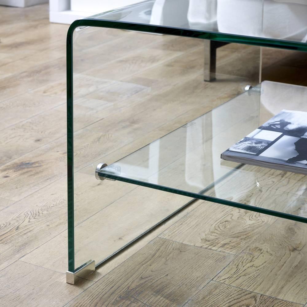 Geo-Glass Rectangular Coffee Table With Shelf with regard to Glass Coffee Tables With Shelf (Image 13 of 30)