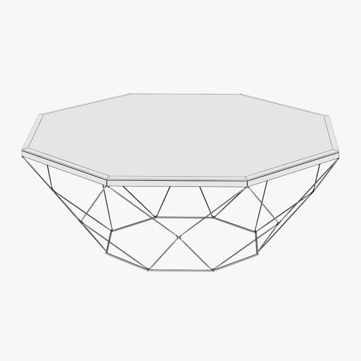 Geometric Antique Brass Coffee Table With Glass Top 3D Model Max with regard to Antique Brass Glass Coffee Tables (Image 21 of 37)