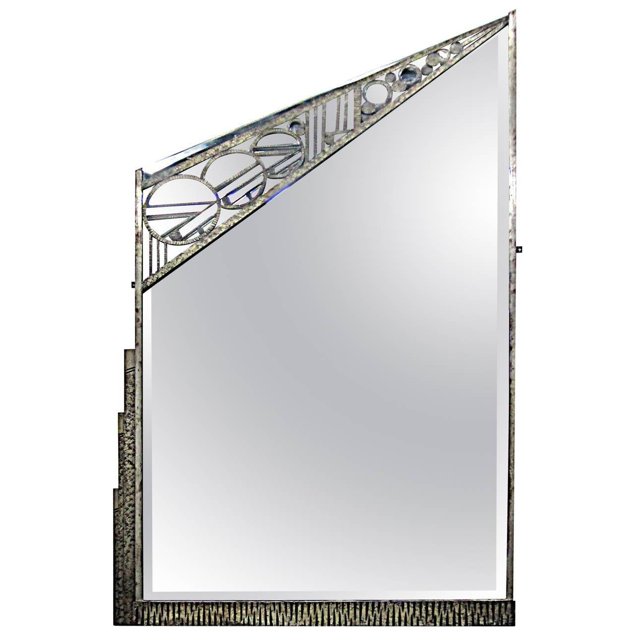 Geometric French Art Deco Wrought-Iron Mirrorcharles Piguet intended for Black Wrought Iron Mirrors (Image 14 of 25)