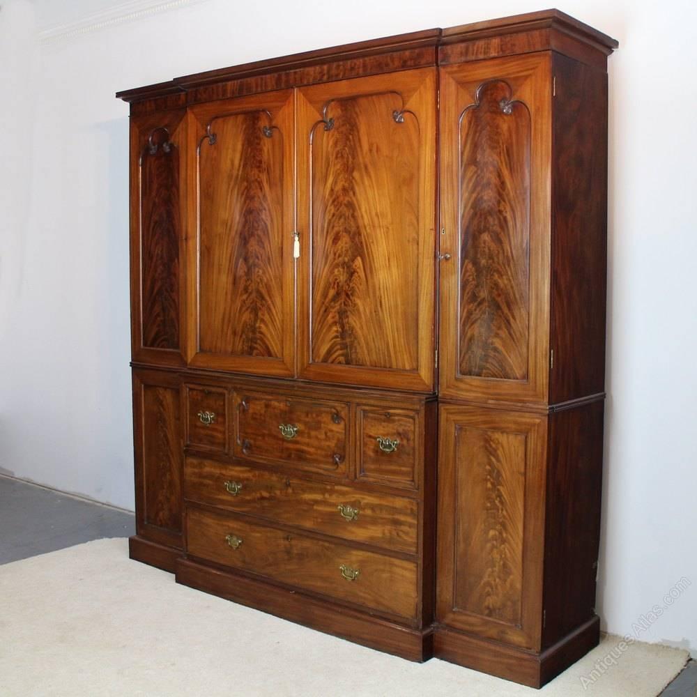 George Iii Mahogany Breakfront Secretaire Wardrobe - Antiques Atlas intended for Mahogany Breakfront Wardrobe (Image 10 of 30)