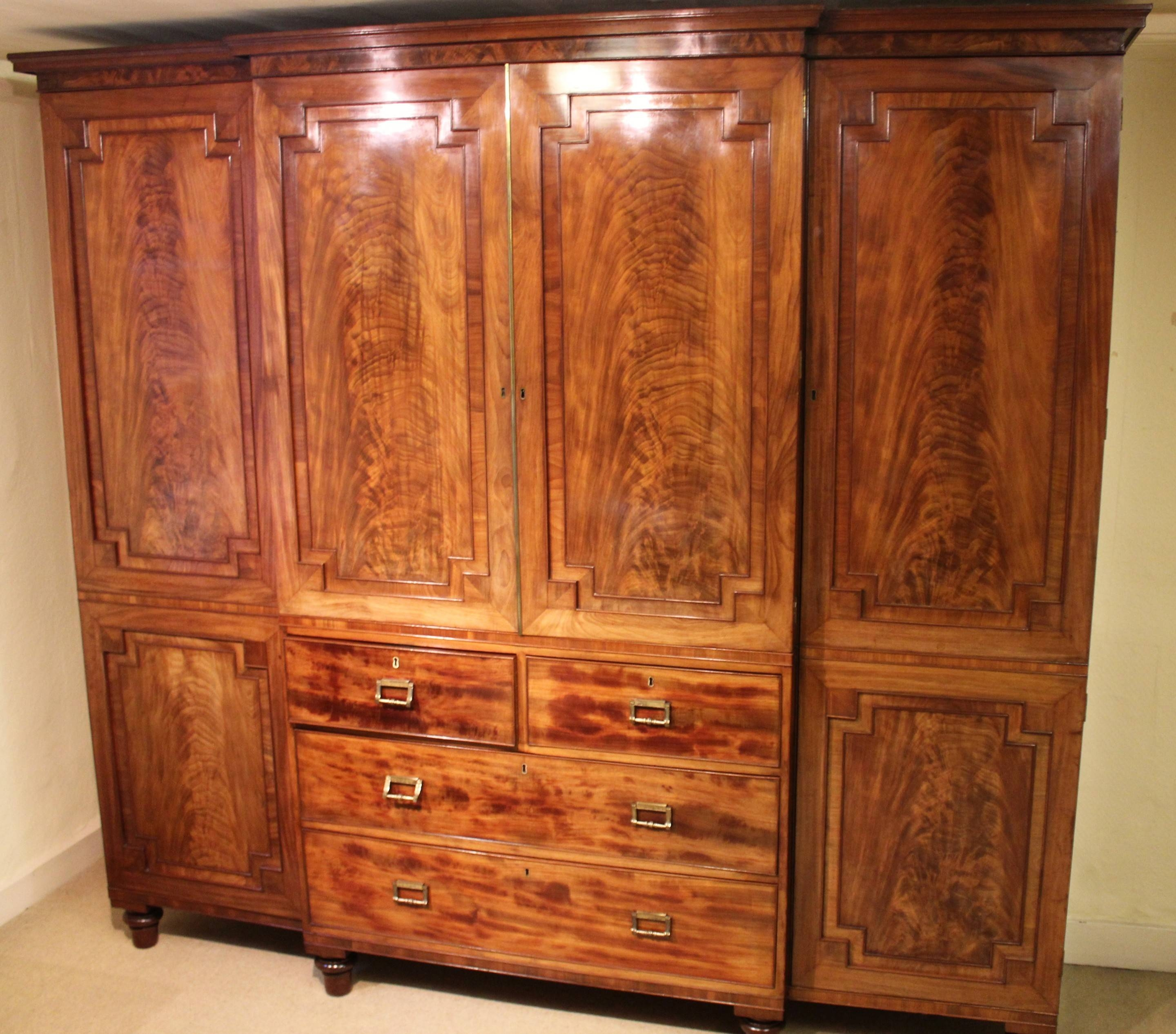 George Iv Period Mahogany Breakfront Wardrobe Of Exceptionally intended for Breakfront Wardrobe (Image 9 of 30)