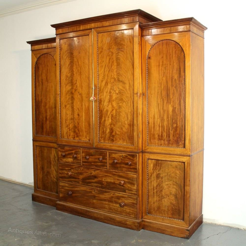 Georgian Mahogany Breakfront Linen Press Wardrobe - Antiques Atlas pertaining to Antique Breakfront Wardrobe (Image 13 of 30)