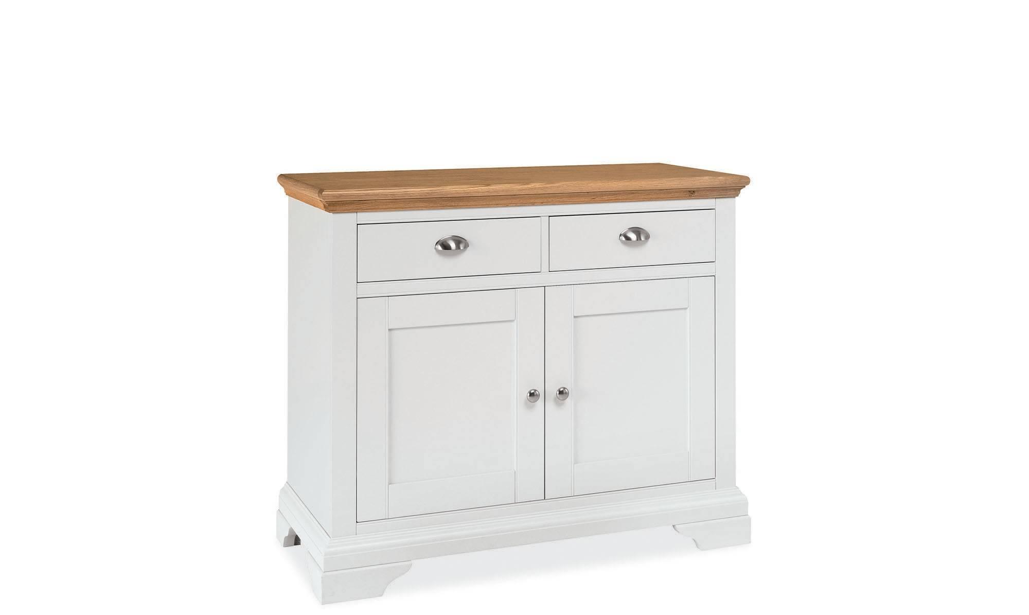 Georgie - Narrow 2 Door Sideboard Cream Painted / Natural Oak Top within Narrow Oak Sideboards (Image 10 of 30)