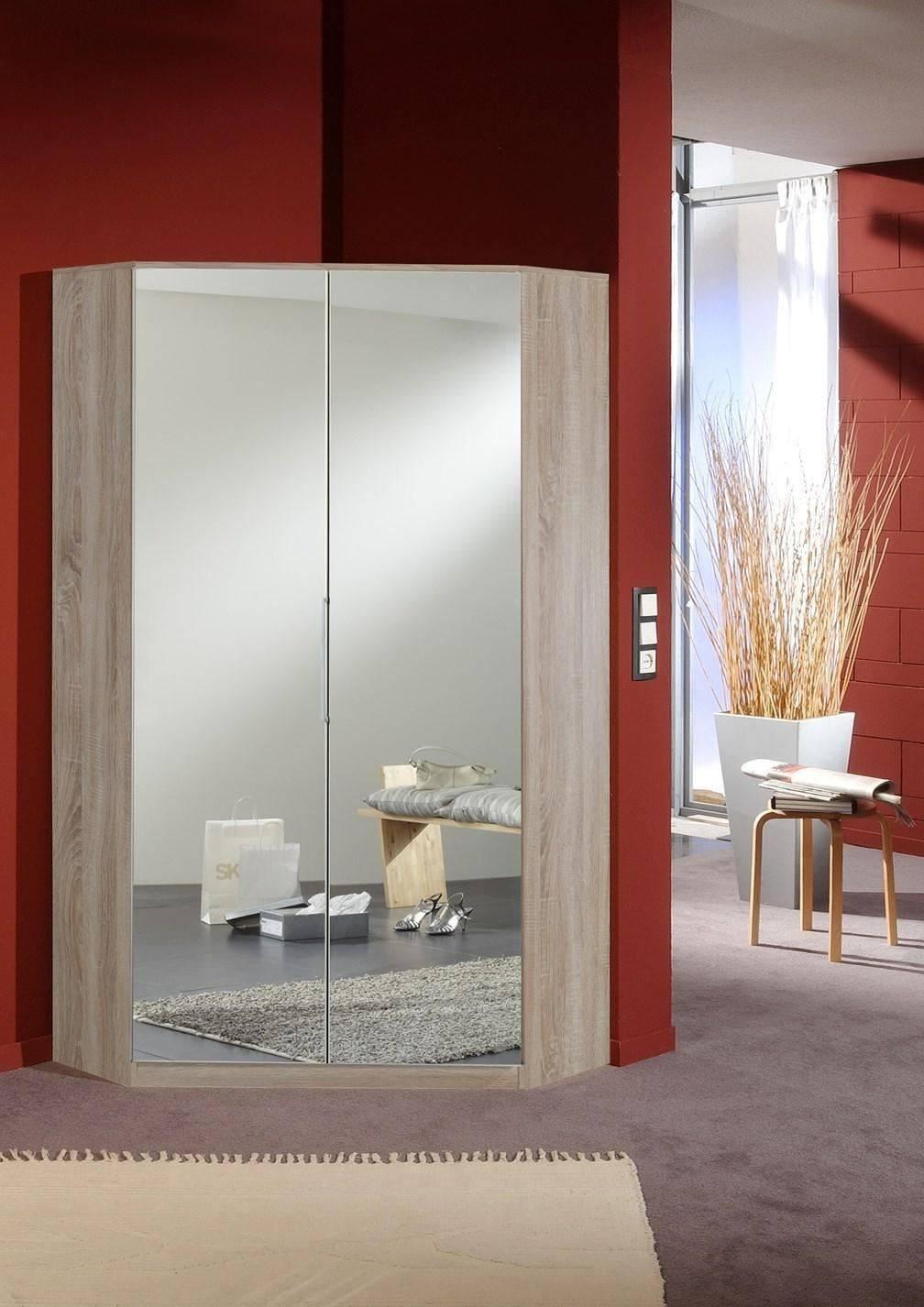 German 2 Door Mirror & Oak Corner Wardrobe With Shelves And With Corner Mirrored Wardrobes (View 6 of 15)