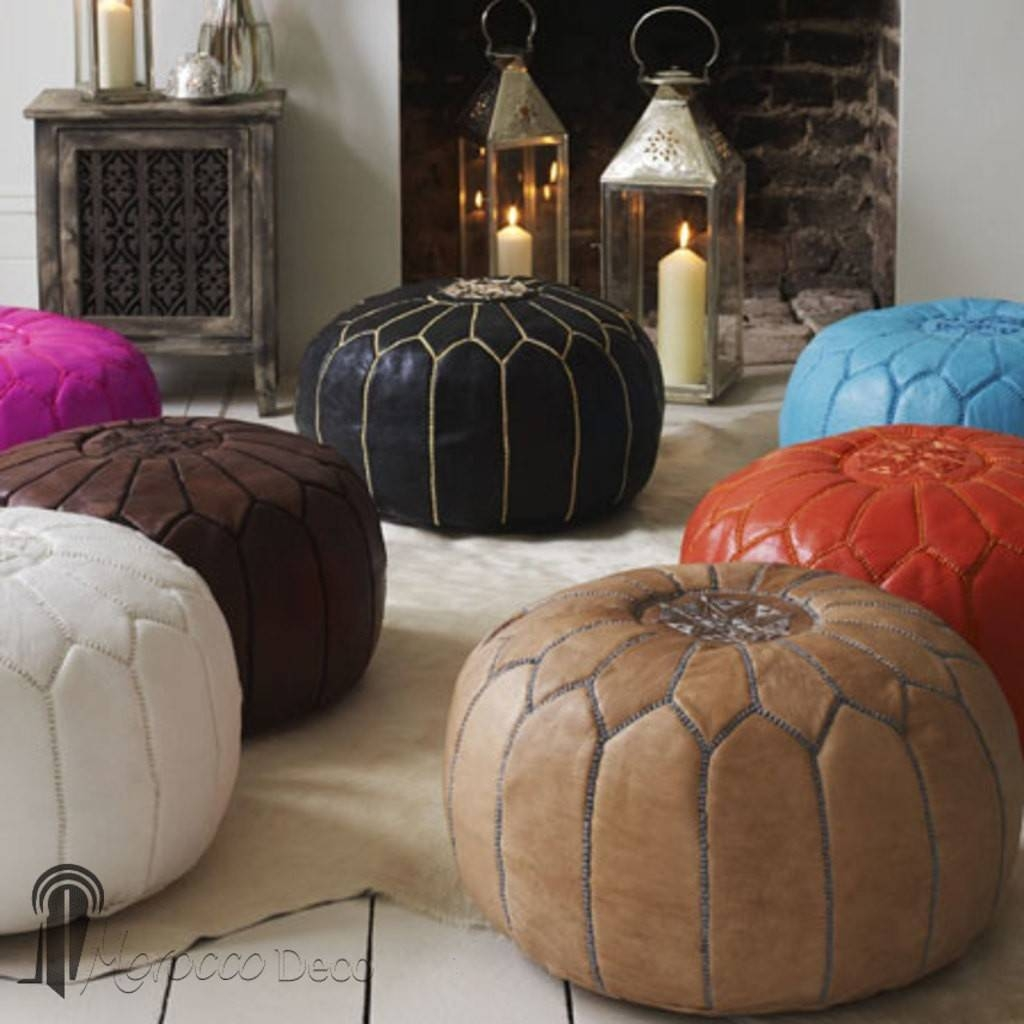 Get Leather Moroccan Ottomans Online: Moroccan Design Copper Pouffe inside Footstools and Pouffes (Image 18 of 30)