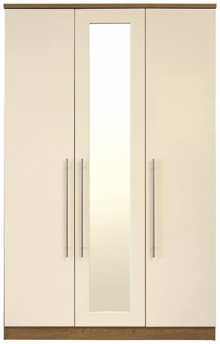 Gfw Keswick 3 Door Cream Gloss Wardrobe With Mirrorsgfw with Cream Gloss Wardrobes Doors (Image 8 of 15)