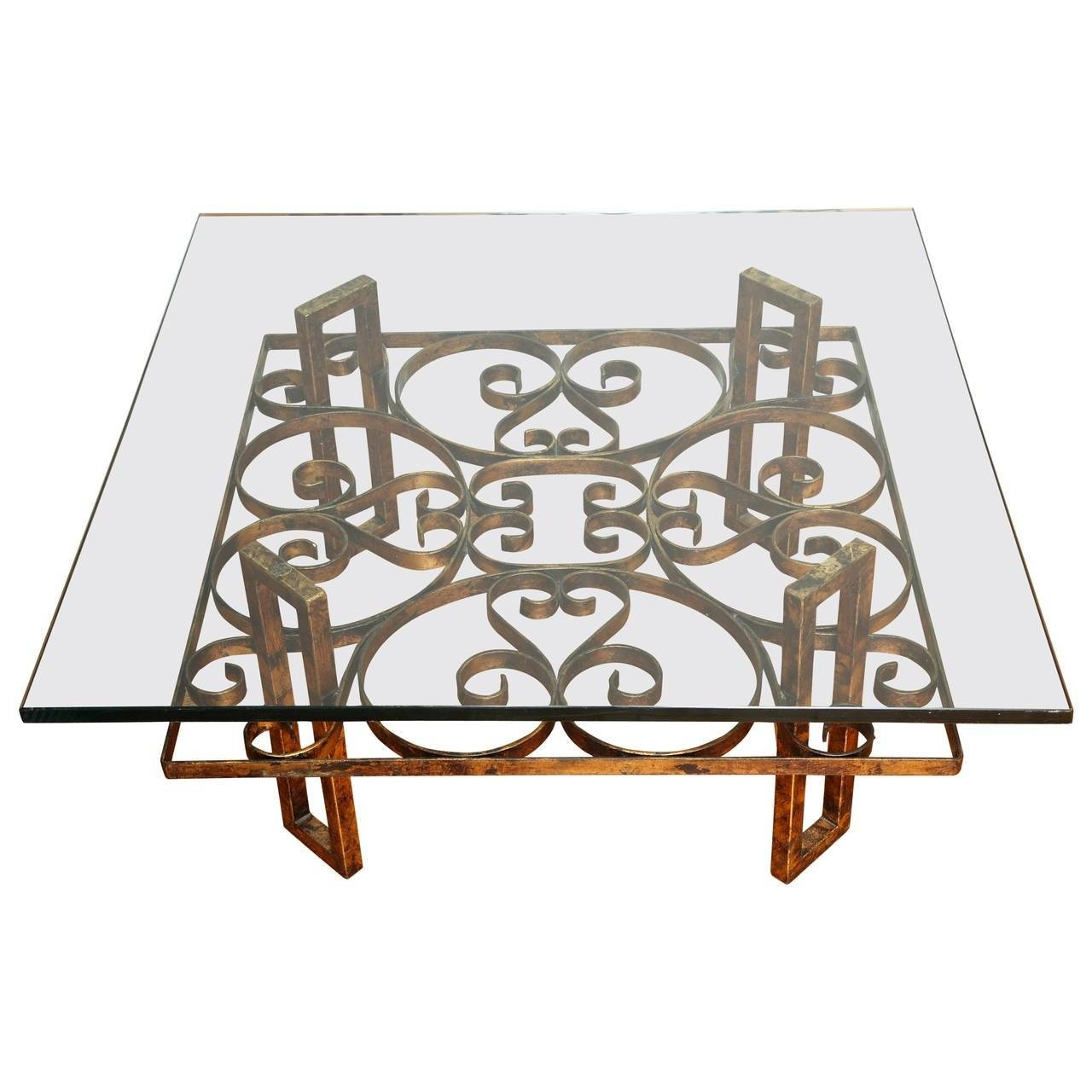 Gilded Wrought Iron Square Coffee Table With Scroll Motif Glass regarding Wrought Iron Coffee Tables (Image 5 of 30)
