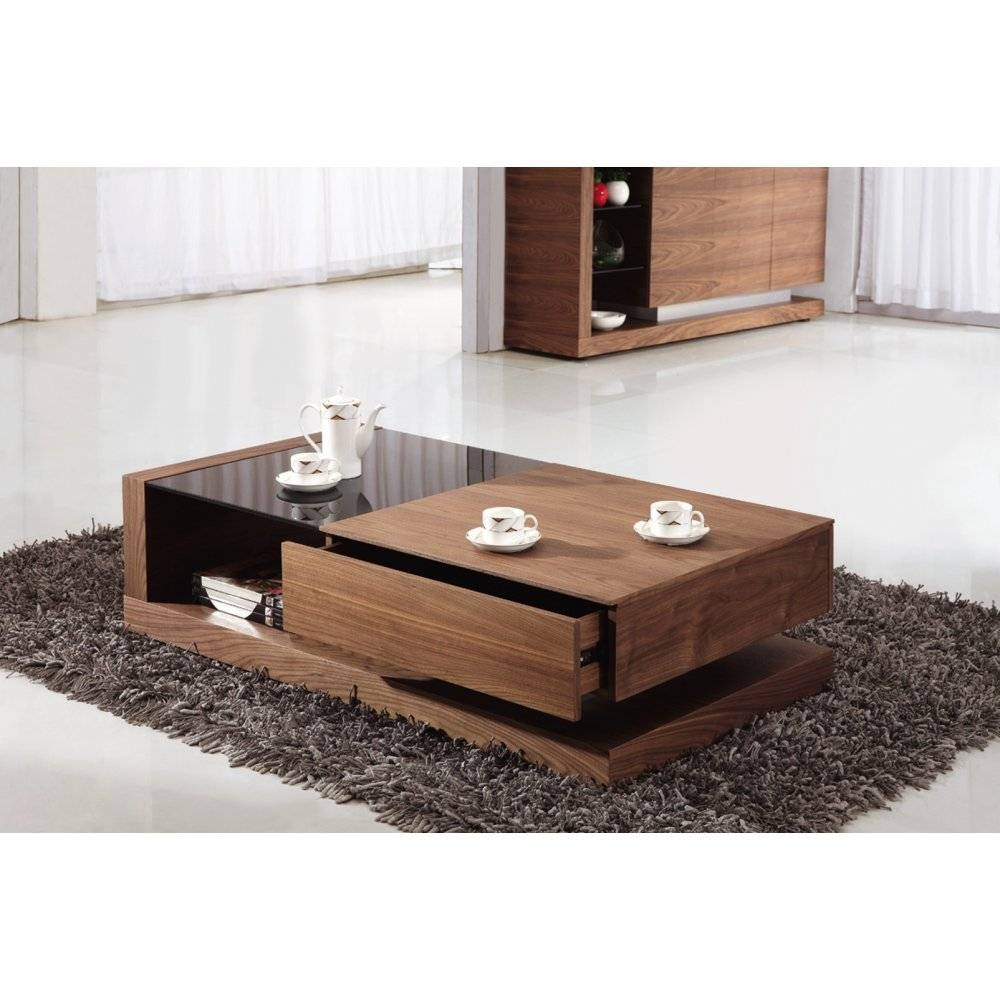 Giomani Designs Alpha Black Glass And Walnut Storage Coffee Table pertaining to Dark Glass Coffee Tables (Image 23 of 30)