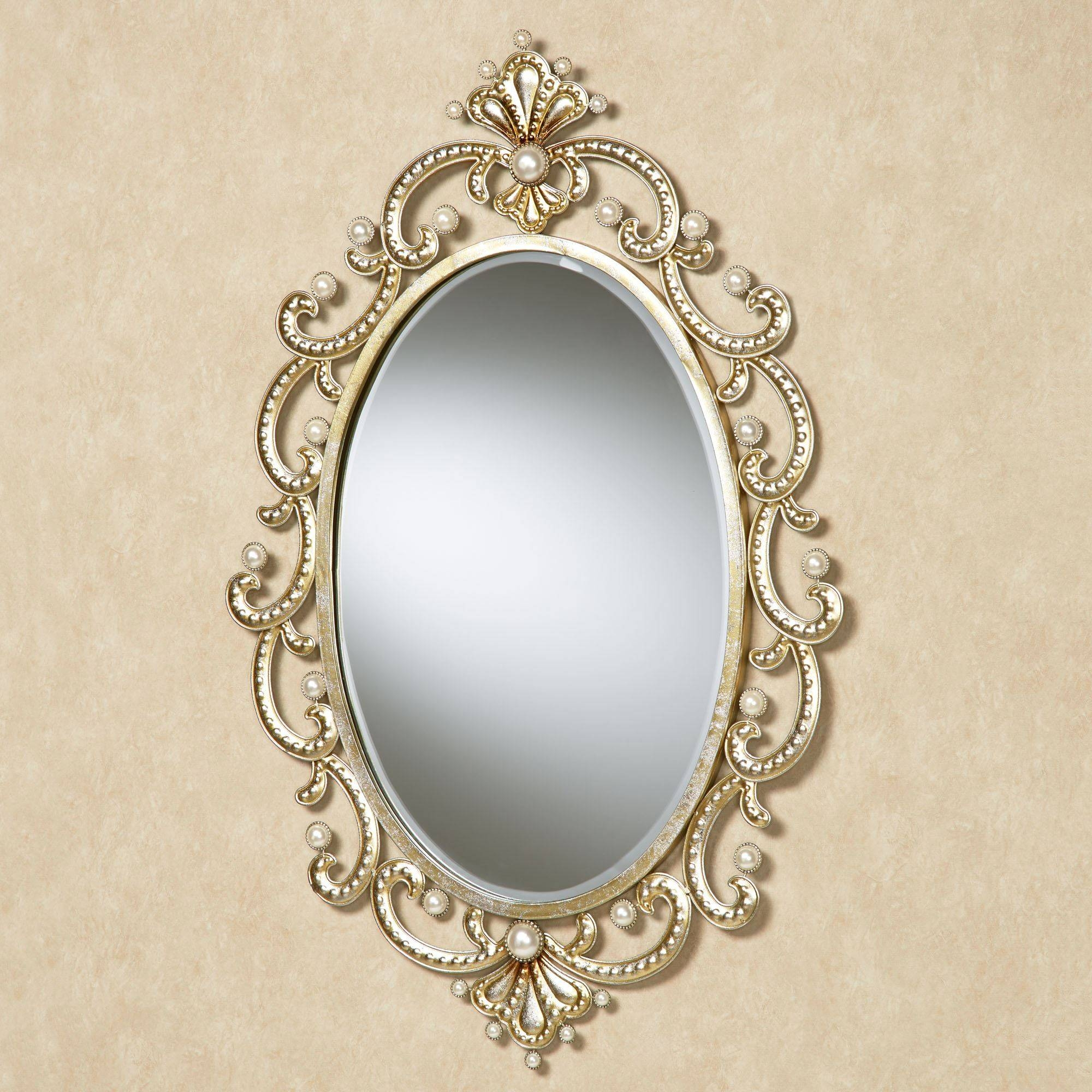 Giorgianna Pearl Oval Wall Mirror for Champagne Wall Mirrors (Image 5 of 25)