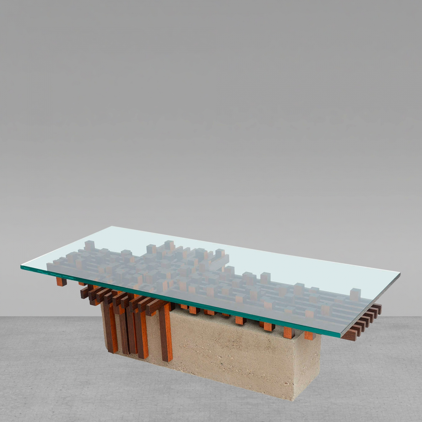 Giovanni Michelucci - Italian Walnut And Concrete Glass Low Table for Low Glass Coffee Tables (Image 9 of 30)