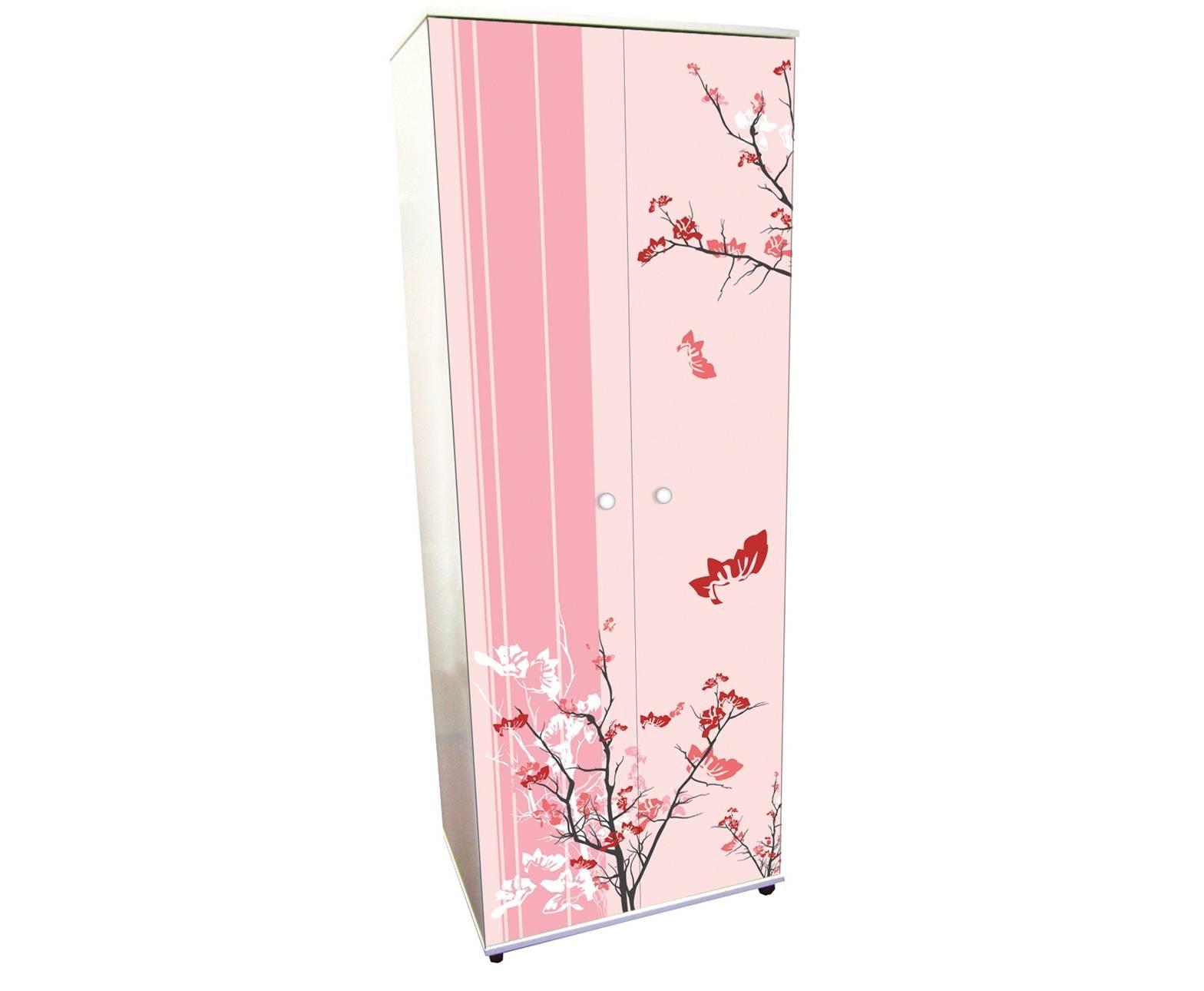 Girls Bedroom : Pink Floral Design Girls Wardrobe within Girls Wardrobes (Image 2 of 15)
