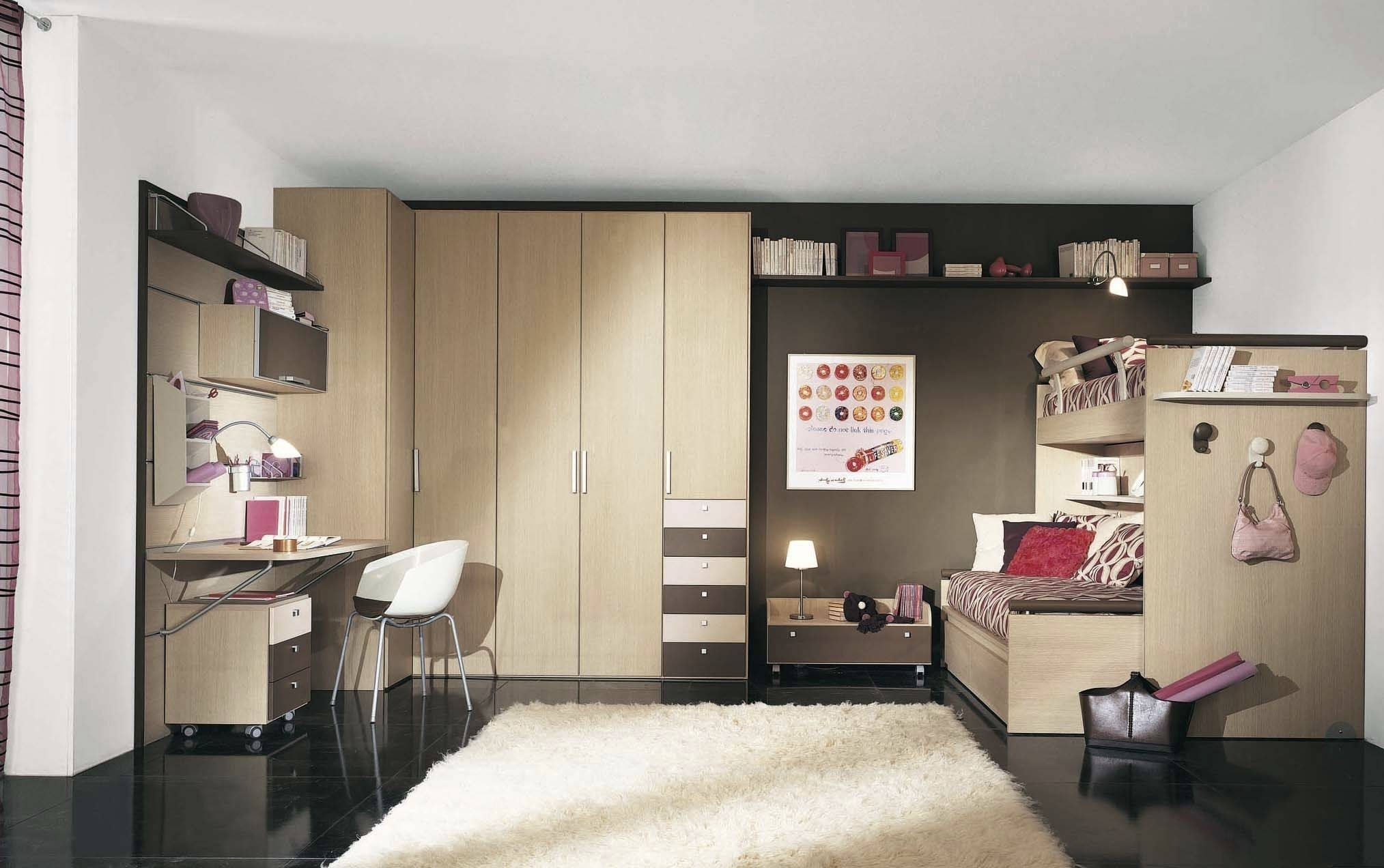 Girl's Children's Bedroom Furniture Set / Wooden - Sesamoh regarding Wardrobes With Shelves and Drawers (Image 15 of 30)