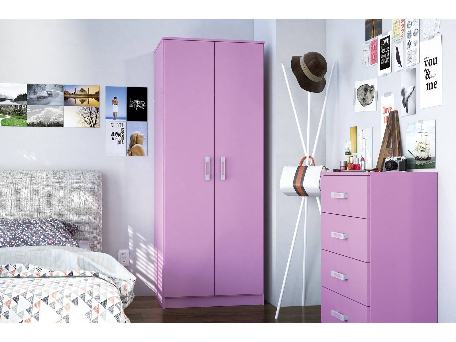 Featured Photo of Pink High Gloss Wardrobes