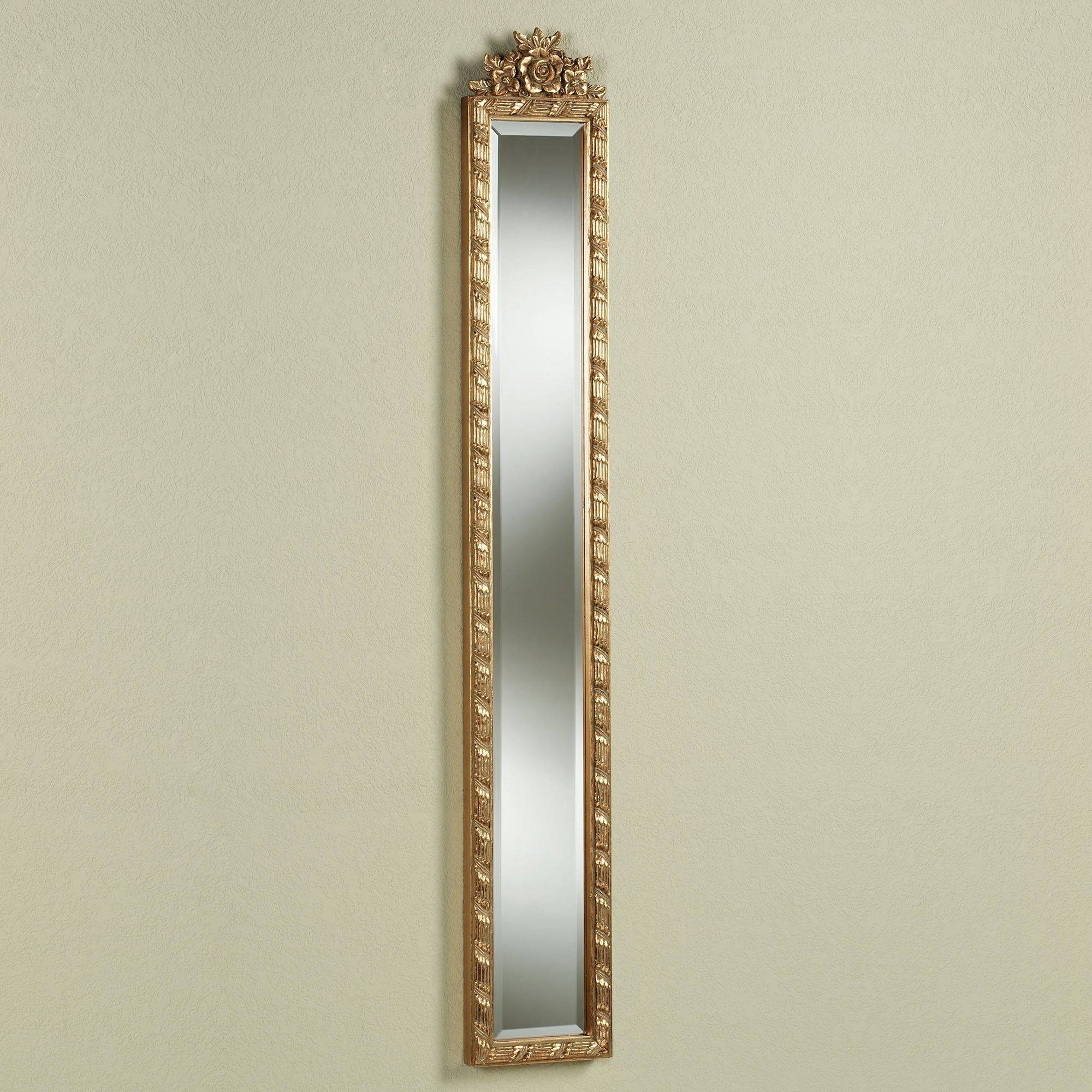 Giuliana Antique Gold Floral Wall Mirror Panel throughout Long Gold Mirrors (Image 16 of 25)
